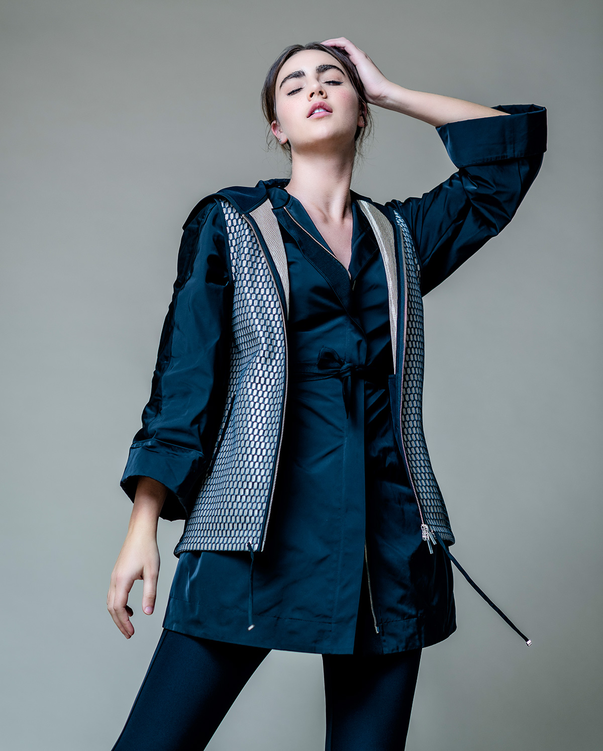 Black rain jacket, silver mesh vest and scuba pants all by Lafayette 148 New York @ Brickell City Centre.