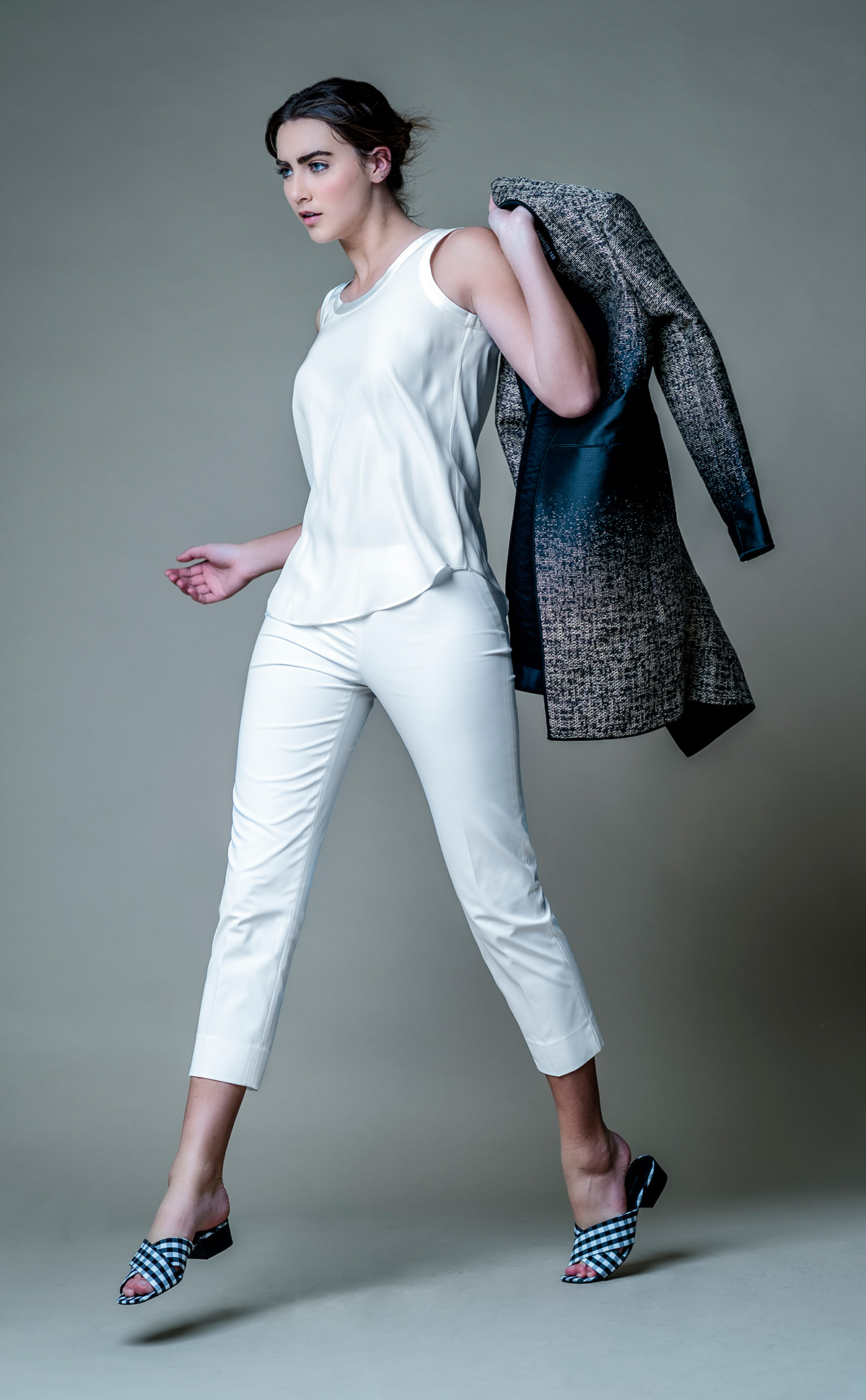 White silk tank top, white denim trousers, black & white sandals and black embroidered jacket all by Lafayette 148 New York @ Brickell City Centre.